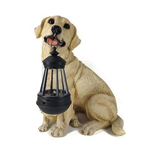 TYM Labrador Dog-Shaped Lantern Decoration Ornaments, Lifelike Resin Crafts, Solar Charging Design, Suitable For Gardens, Balconies, Etc, Yellow