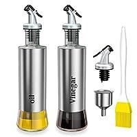 ninonly 300ml olio e aceto dispenser 2pcs bottiglia di olio d'oliva acciaio inossidabile olio e aceto ampolla con beccuccio oliera bottiglia per cucina e barbecue