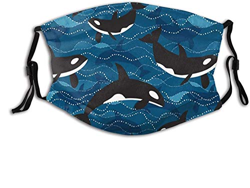 Ocean Orcas Face Mask with Filter Pocket Washable Face Bandanas Balaclava Reusable Fabric Mask for Men Women