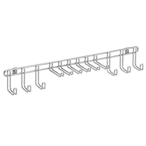 iDesign Classico Krawattenhalter, Hakenleiste aus verchromtem Metall mit zwölf Haken für Gürtel und Krawatten, silberfarben
