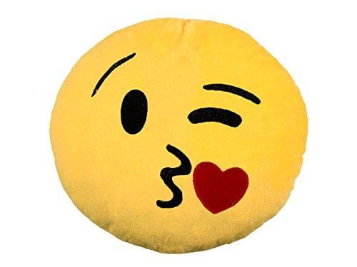 Emoticon Emoji-con Lach Smiley Kissen Dekokissen Stuhlkissen Sitzkissen gelb rund (Kuss - 3)