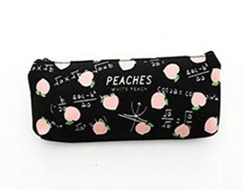 Girl's Stationery Bag Cute Peach Pencil case Canvas Stationery Bag Canvas Pencil case School Supplies (B)