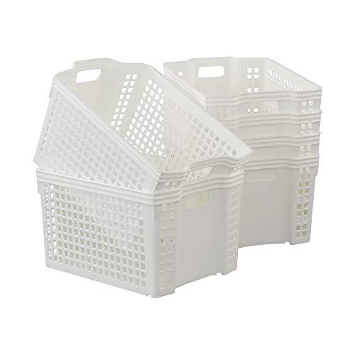 Saedy cestas de almacenamiento apilables de plástico, cesta blanca, paquete de 6