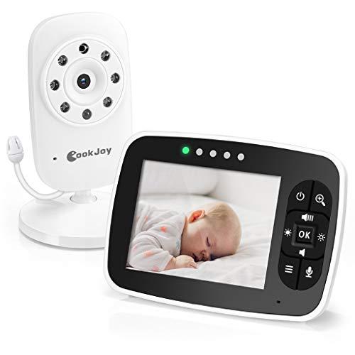 Laiyiy Moniteur de Sommeil de bébé 2.4G 3,5 Pouces Moniteur de température avec écran LCD Musique Berceuse Radio Babysitter 2 Voies Audio Talk (Edition : UK Plug)