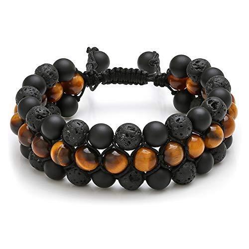 Top Plaza Mens Lava Rock Stone Essential Oil Diffuser Bracelet Chakra Yoga Healing Crystal Bracelet Natural Gemstone Beads Anxiety Bracelets Braided - Tiger Eye Stone + Lava Bead