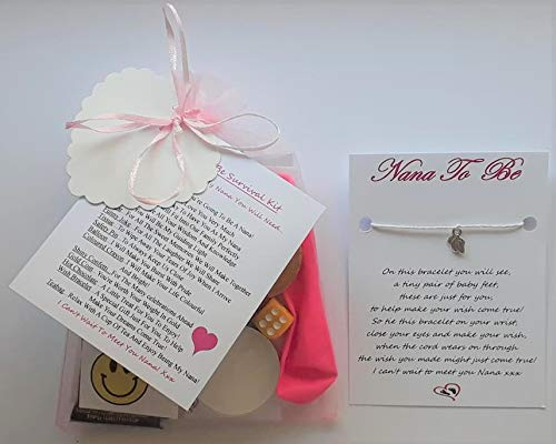 Nana to Be Survival Gift Kit from The Baby/Bump with A Lovely Keepsake Baby Feet Charm Wish Bracelet Included! A Great Gift to Congratulate The New Nana to Be!