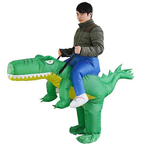thematys Aufblasbares grünes Dinosaurier Reiter Kostüm - Lustiges Luftkostüm für Erwachsene 165cm-185cm - Perfekt für Karneval, Junggesellenabschied oder Halloween