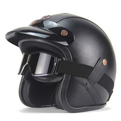Caschi open face per uomo Casco Racer Caschi crash Casco open Casco Jet Moto con occhiali DOT Approved