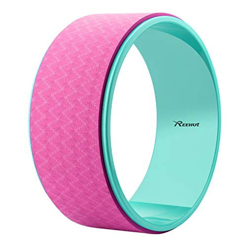 REEHUT Yoga Wheel - 12.6' x 5' Strong Premium Back Roller and Stretcher with Thick Cushion for Dharma Yoga Pose, Backbend & Stretching - (Pink)