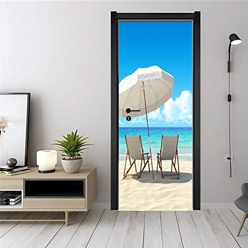 QQFENG Etiquetas Engomadas De La Puerta De La Silla De Playa Murales De La Puerta Extraíbles Calcomanías De Arte Decorativo 90 x 200 cm