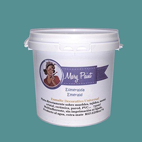 Mary Paint | Pintura para muebles efecto Chalk Paint, Verde Esmeralda - 750ml