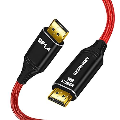 ANNNWZZD Cable DisplayPort a HDMI de 6 pies (4 K UHD), cable DP 1.4 a HDMI de alta velocidad compatible con HP, DELL, GPU, AMD, NVIDIA y más