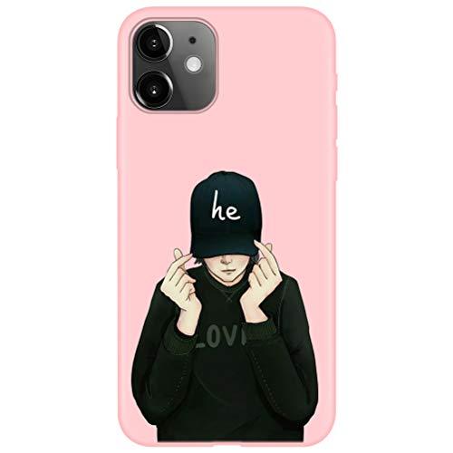 Yoedge Capa para Samsung Galaxy A5 2017, capa fina de silicone rosa fosco gel TPU borracha capa protetora à prova de choque com desenho bonito e legal para Samsung Galaxy A5 2017, casal menino