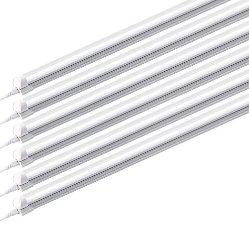 Barrina (Pack of 6) 8ft Led Tube Light Fixture, 44w, 4500lm, 6500K (Super Bright White) for Garage, Shop, Warehouse, Corded Electric with Built-in ON/Off Switch