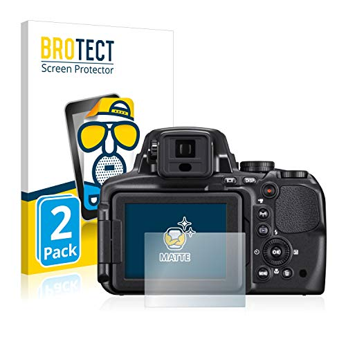 BROTECT Protector Pantalla Anti-Reflejos Compatible con Nikon Coolpix P900 (2 Unidades) Pelicula Mate Anti-Huellas