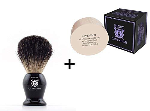 Henry Cavendish Lavender Shaving Soap with Shea Butter & Coconut Oil. Long Lasting 3.8 oz Puck Refill with a Gentleman's 100% Pure Badger Hair Shaving Brush.