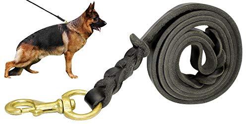 Berry Laisse pour chien en cuir véritable tressé Noir 160 cm x 1,6 cm