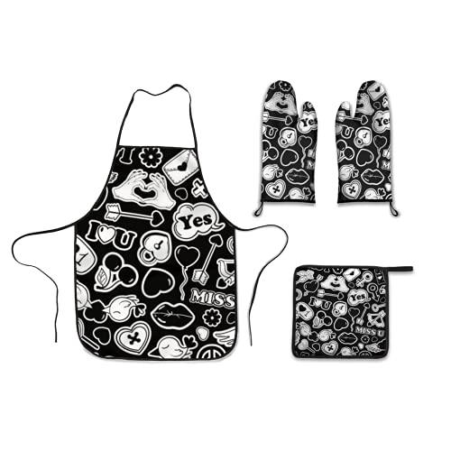 Kitchen Four Piece,black and white funny seamless pattern of love stickers emoji pins or patches in cartoon 80s 90s pop,Polyester Gloves Microwave oven gloves apron Dinner plate mat Barbecue