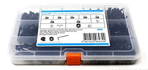 iExcell 800 Pcs 10.9 Grade M3 x 6/8/10/12/14/16/20/25/30mm Thread Pitch 0.5mm Alloy Steel Hex Socket Button Head Cap Screws Bolts Nuts Assortment Kit, Black Oxide Finish