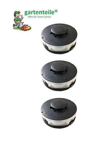 Lot de 3 bobines double fil coupe-bordure Bobine de fil de rechange pour coupe-bordures électrique Convient pour Aldi Top Craft, King Craft, GLT Gardenline GLR, Einhell RTV, performance Power