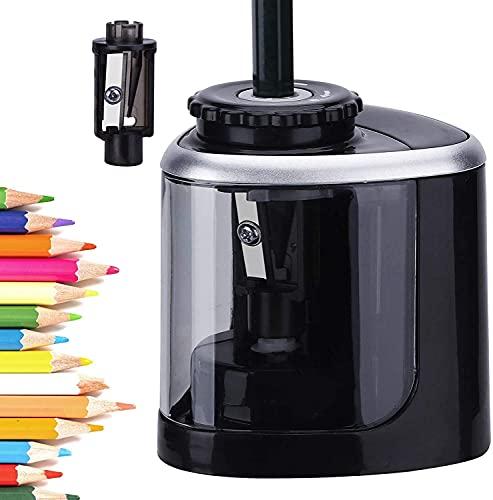 Afilador de lápices, sacapuntas eléctrico de batería, de punta rápida, apto para lápices de color No.2 (6-8mm), de clase, de oficina o de casa (Negro)