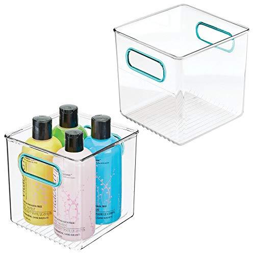 mDesign Juego de 2 cajas de plástico con asas integradas – Organizador de maquillaje con diseño atractivo – Caja organizadora, ideal para guardar cosméticos en el baño – transparente/azul