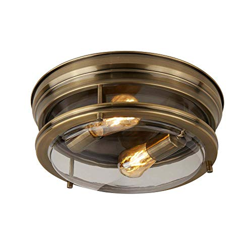 Searchlight Edinburgh - Lámpara de techo empotrada para baño de 2 luces Latón antiguo IP44, E27