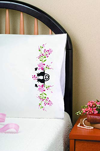 Tobin Stamped Pillowcases, Cat Silhouette, 20' x 30' Embroidery Kit, White