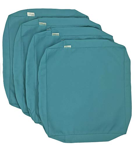 CozyLounge Indoor Outdoor Water Repellent High UV Resistant Patio Chair Cushion Cover (22'x20'x4' (4 Covers), Serenity Teal)