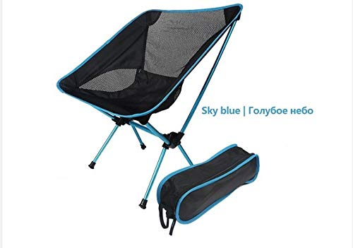 Outdoor Moon Chair Leichtes Angeln Camping BBQ Stühle Tragbare Klappbare Erweiterte Wandersitz Garten Ultraleicht- Lake-Blue, a1