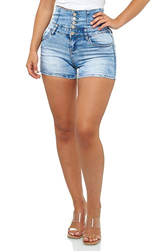 Elara Damen Hose Kurz High Waist Push Up Effekt Chunkyrayan YS 105 Blue-38 (M)