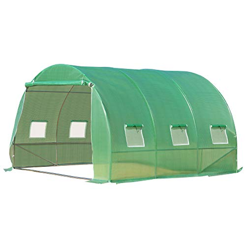 Outsunny 10' x 10' x 7' Walk-in Tunnel Greenhouse with Transparent PE Cover, Zipper Doors, & Windows