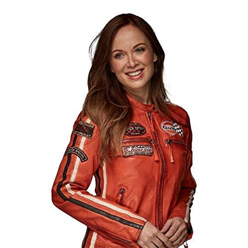 Grandprix Originals Gulf Racing Ladies Leather Jacket Orange 42
