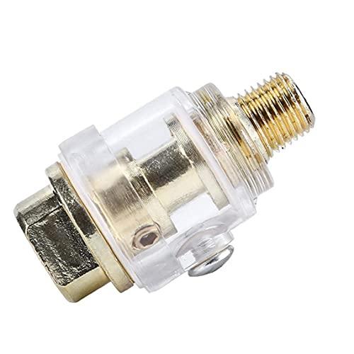LAANCOO Neumática Lubricador Mini In-Line engrasador lubricador automático Cuarto Puerto para compresor de Aire para Herramientas neumáticas Tubo de Plata Duradero