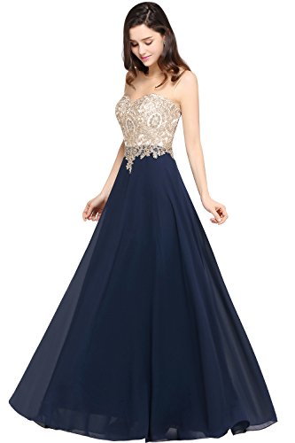 MisShow Damen Elegant Chiffon A-Linie Lang Abendkleider Brautjungfernkleider Applique Abschlusskleid Maxilangkleid Gr.32-46, Navyblau, 34