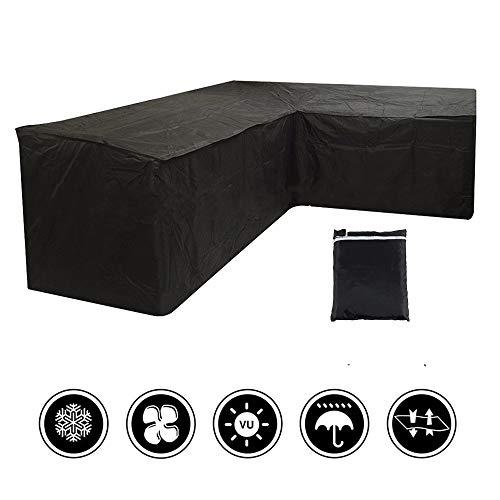Miuline L-förmige Gartenmöbel-Abdeckung, wasserdicht, staubdicht, strapazierfähig, für den Außenbereich, Rattan, Ecksofa-Abdeckung mit Aufbewahrungstasche zum Umziehen oder Sonnenschutz