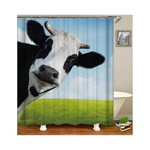 Bishilin Anti Schimmel Duschvorhang Waschbar Kuh Grünland Bad Vorhang für Badezimmer Polyester-Stoff 165x180