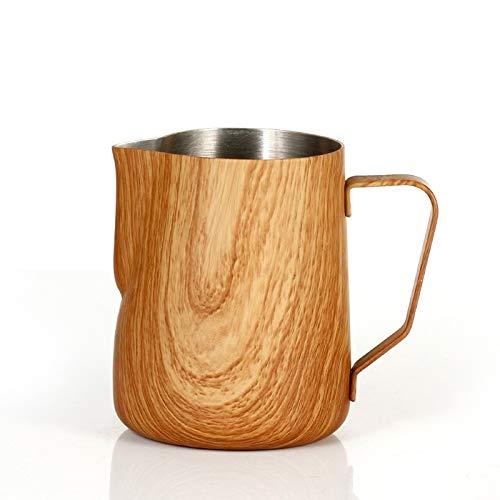 WANZSC Jarra de leche de café de 350 ml de grano de acero inoxidable jarra de espumar tirar de la flor taza de café espumadores taza barista herramientas (A)