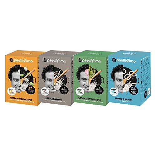 Paellíssimo - 4 x Kit para Arroz Negro, Arroz A Banda, Arroz con Verduras y Paella Valenciana | 100% Natural y Sin Gluten | Comida Preparada por Chef con Estrella Michelin
