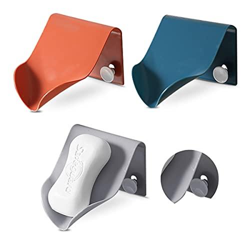 Esteopt ABS tvålburk plast, 3 delar dränering tvålask med självhäftande, tvålhållare utan borrning för dusch badrum kök toalett