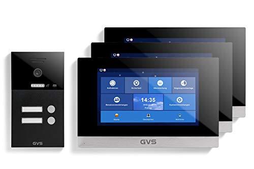 GVS AVS1261U - Videoportero IP de 4 cables, estación de puerta empotrada IP65, monitor de 3 x 10 pulgadas, App, cámara HD de 120 °, función de apertura de puerta, 32 GB de memoria, conmutador PoE, 2 juegos de casa familiar