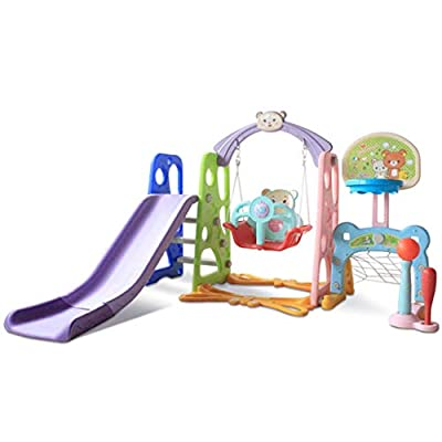 6 in 1 Toddler Slide Swing and Climber Toys Playset for Kids Boy & Girls Gift Aged 2+ Years Old, Child Activity Center with Basketball Hoop, Football Goal and Baseball Games Play Set (Multicolored)