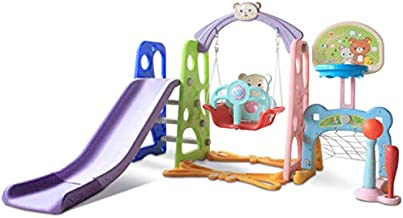 A-free 6-in-1 Toddler Slide and Swing Set - Kids Indoor and Outdoor Playground Combination Climber/ Slide/ Swing/ Basketball/ Football/ Baseball w/ Music, for Boys & Girls (Multicolour)