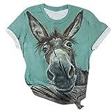 Fcostume - Camiseta de mujer con estampado de animales en 3D, parte superior sexy para verano, cuello redondo Z4-verde. S