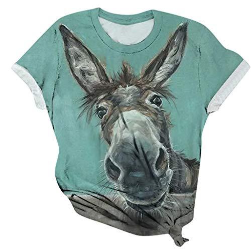 Sannysis Lustig Esel Tshirt Geschenkidee Damen Kurzarm T-Shirt Casual mit Grafikdruck Lässig Bunter Druck T-Shirts Süße Tops Mädchen Oberteile Sommer Lose Shirt (S, Grün)