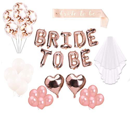 MW vrijgezellenavond - witte sluier & sjerp & decoratie - vrijgezellenfeest decoratie vrouwen - ballonnen (24 stuks) - Bride to be letters - Bachelorette Party - Bruid roze