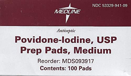 Medline MDS093917H Pad, Prep, Povidone/Iodine, Medium (Pack of 100)