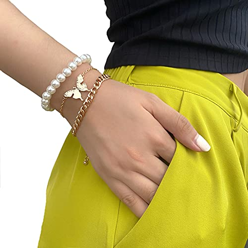 QFSLR Pulsera Mariposa Pulseras para Mujer Pulsera De Perlas Conjunto De Pulsera Ajustable Cadena De Mano con Cuentas para Mujeres Y Niñas Juego De 3 Piezas,Blanco