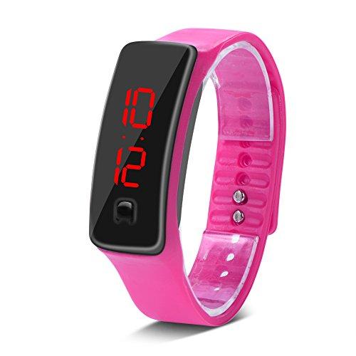 Reloj LED deportivo con correa de silicona para smartwatch de repuesto, esfera de 12 horas, pantalla electrónica [5#]