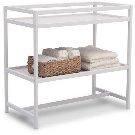 Delta Children Nursery Side Table Designed for Effortless Dressings and Diaper Changes, White